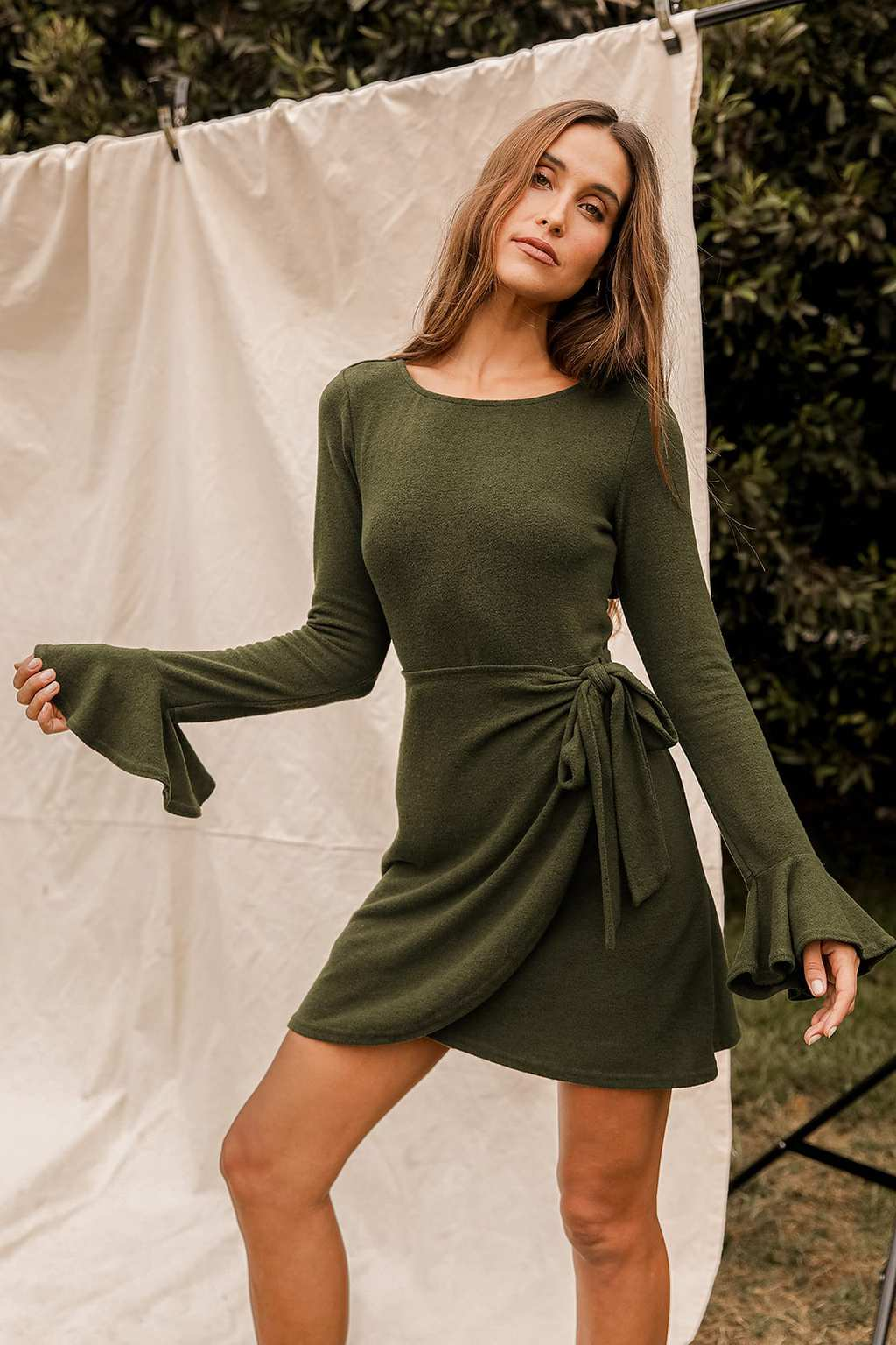 Olive green wrap dress from Lulus