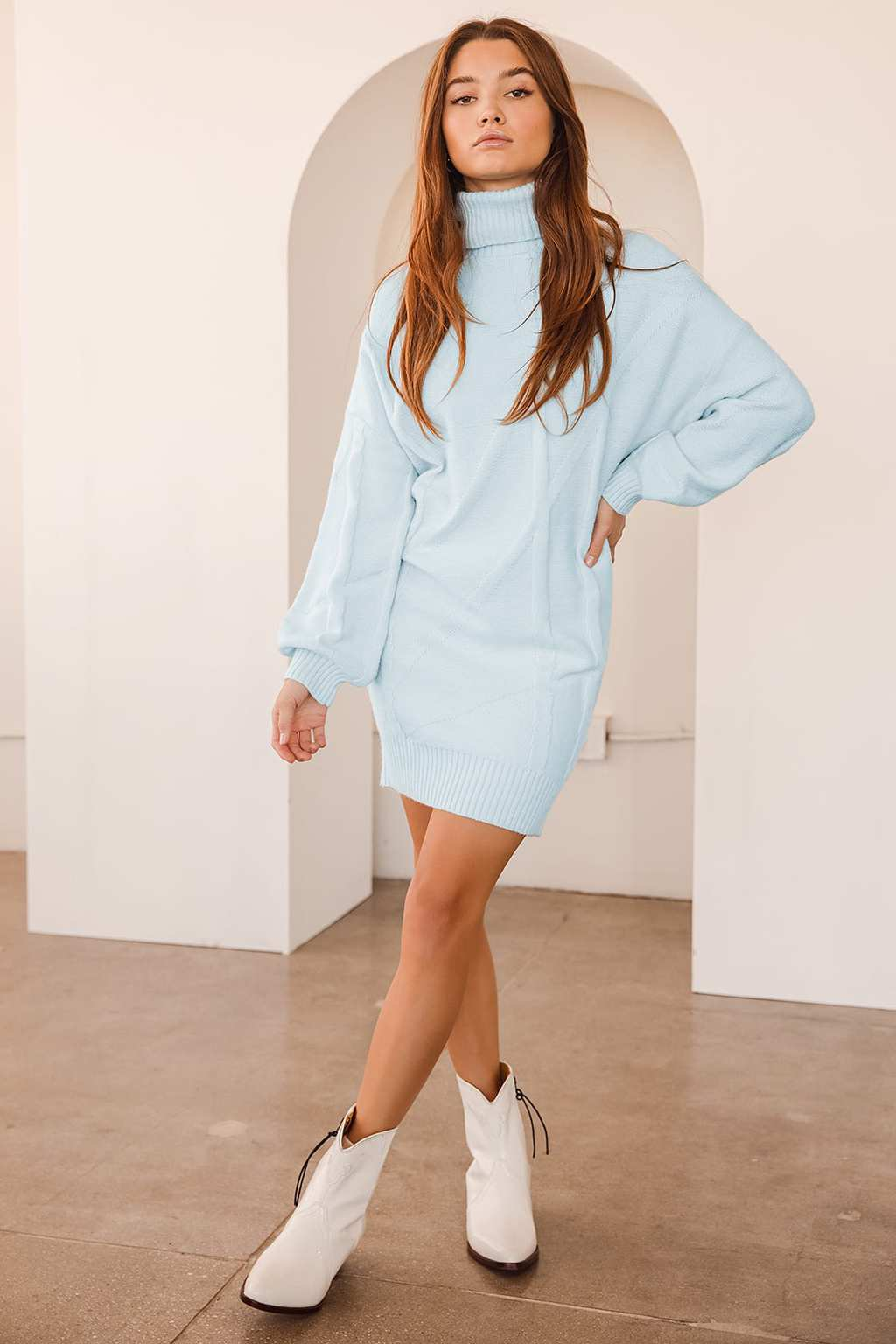 Light blue sweater dress from Lulus