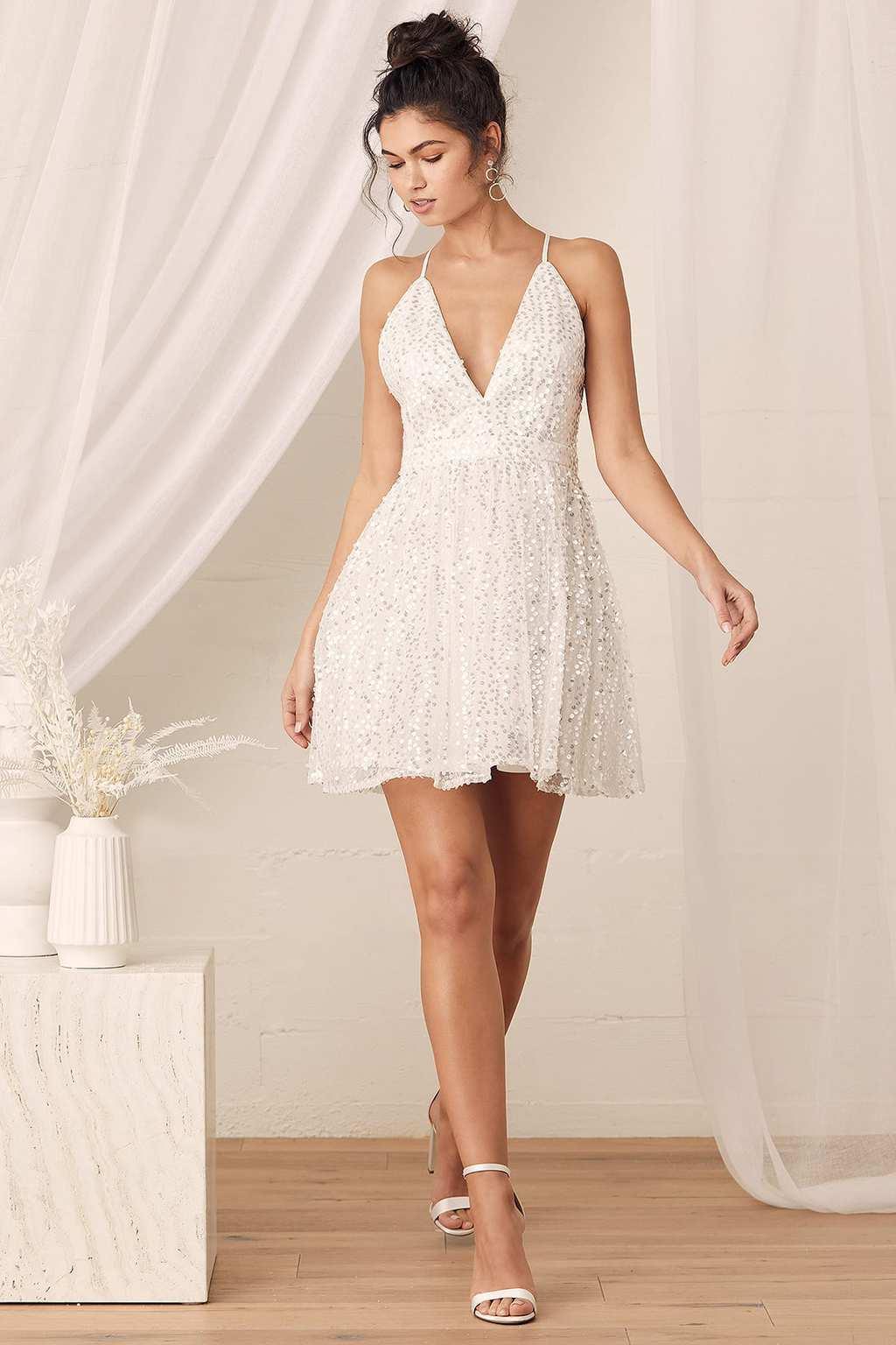 White sequin mini skater dress from Lulu's