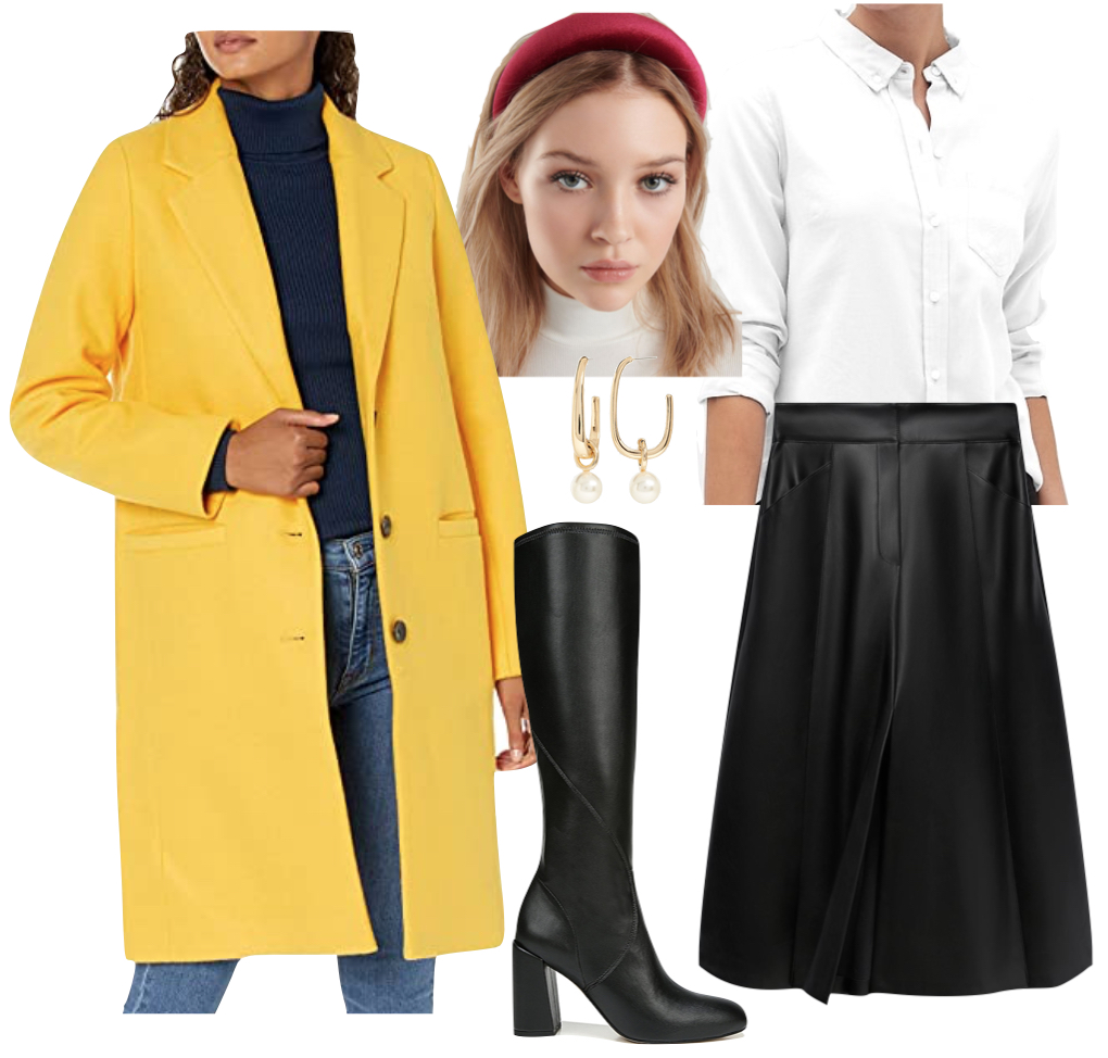 Amanda Gorman Outfit #1: yellow coat, white button down shirt, faux leather midi skirt, black faux leather knee high boots, red puffy headband, and gold hoop pearl earrings