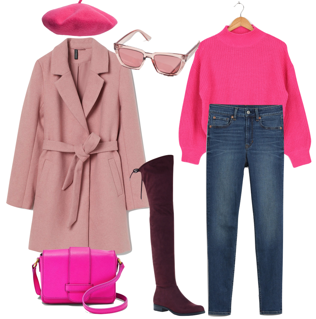 Amanda Gorman Outfit #2: pink sweater, skinny jeans, hot pink beret hat, pink plastic sunglasses, pink tie belt cat, maroon over the knee boots, pink crossbody bag