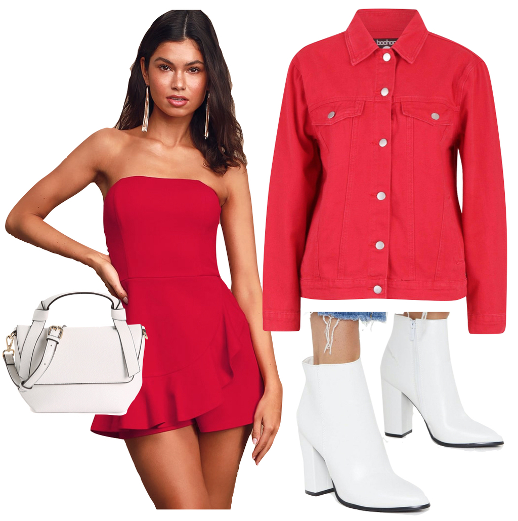 Amanda Gorman Outfit 3: red ruffled romper, red denim jacket, white ankle booties, and white bag