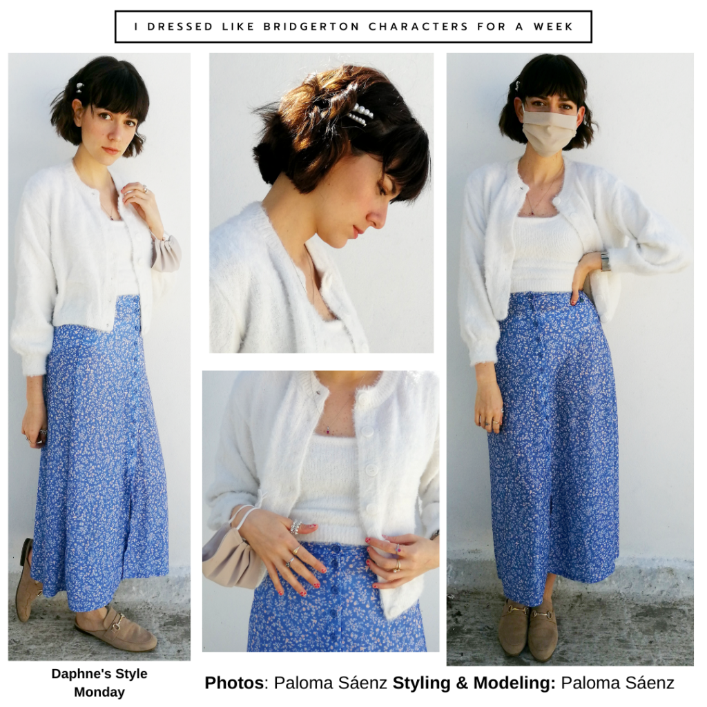 Outfit inspired by Daphne Bridgerton's style - floral midi skirt, white top, white cardigan, pearl hair clips, loafers