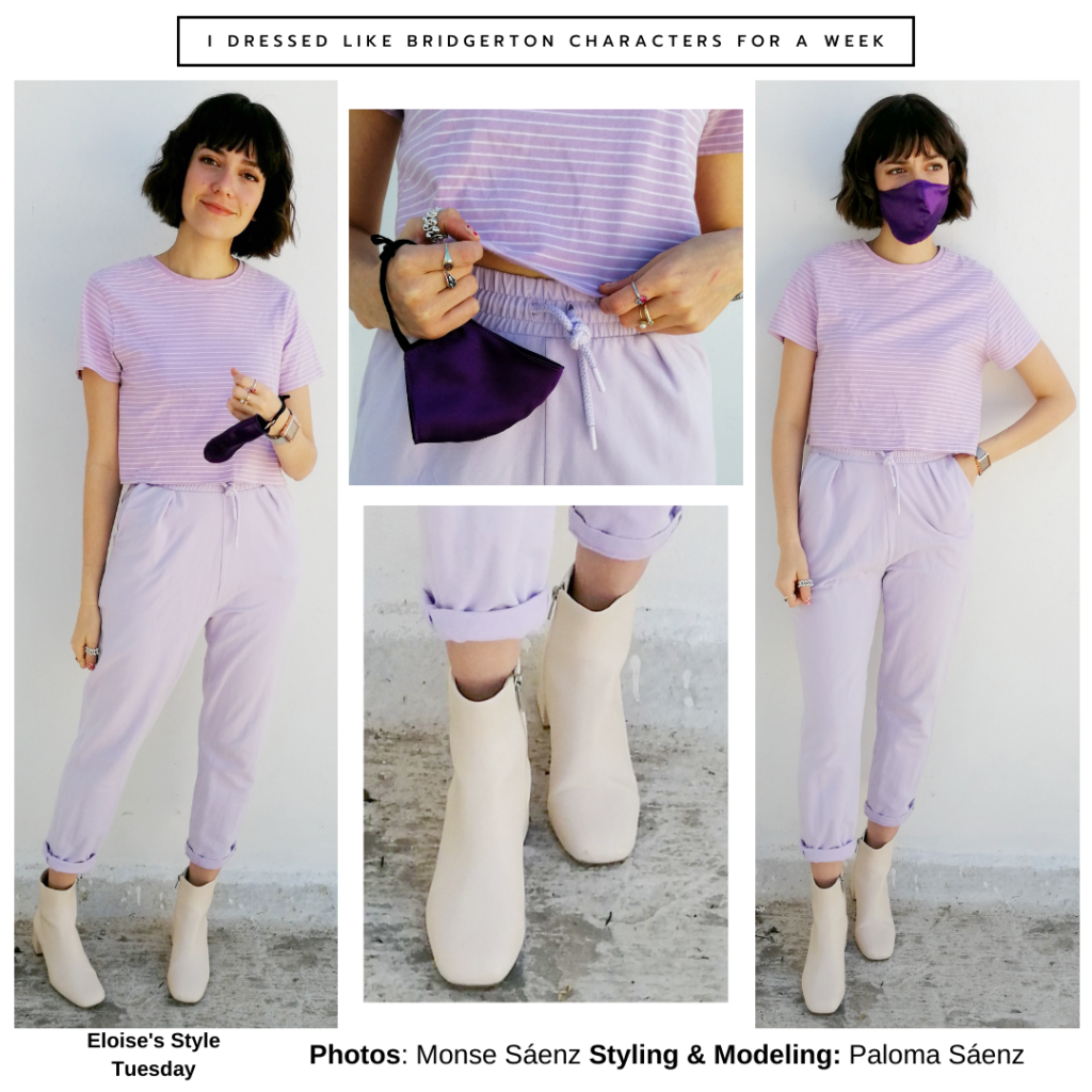 Outfit inspired by Eloise Bridgerton -- purple pants and striped top, white ankle boots