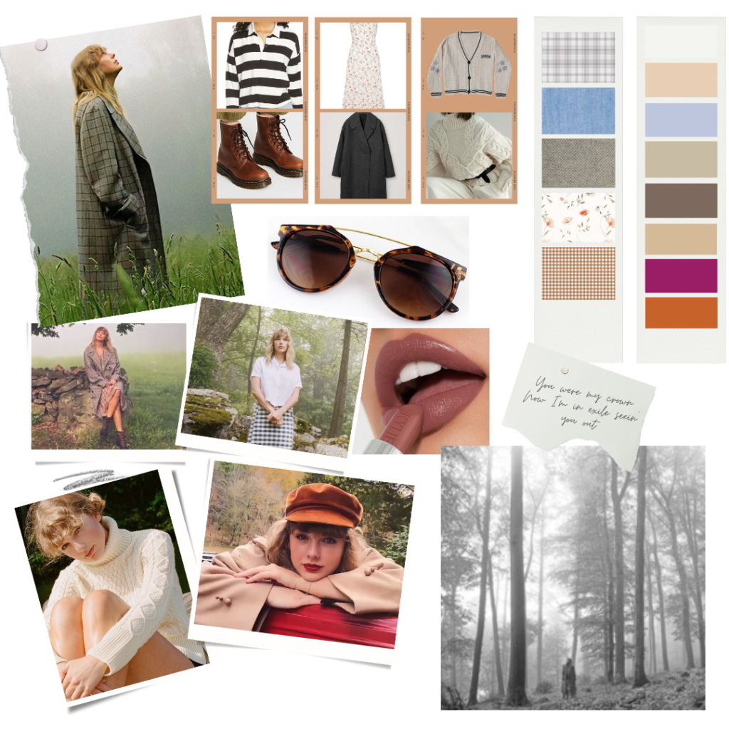 Mood board inspired by Taylor Swift's folklore era fashion