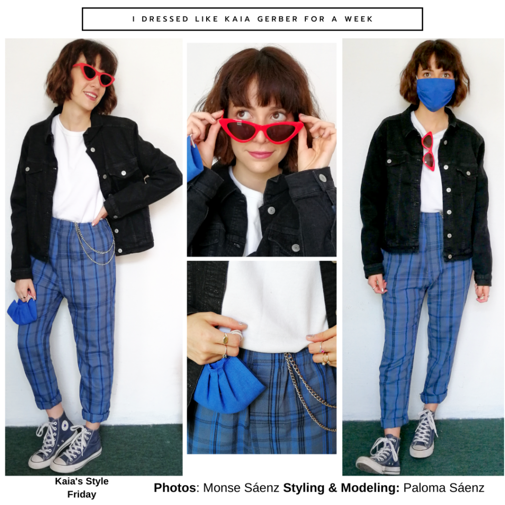 Outfit inspired by Kaia Gerber with blue plaid pants, Converse high tops, red sneakers, mini purse, and oversized black jacket