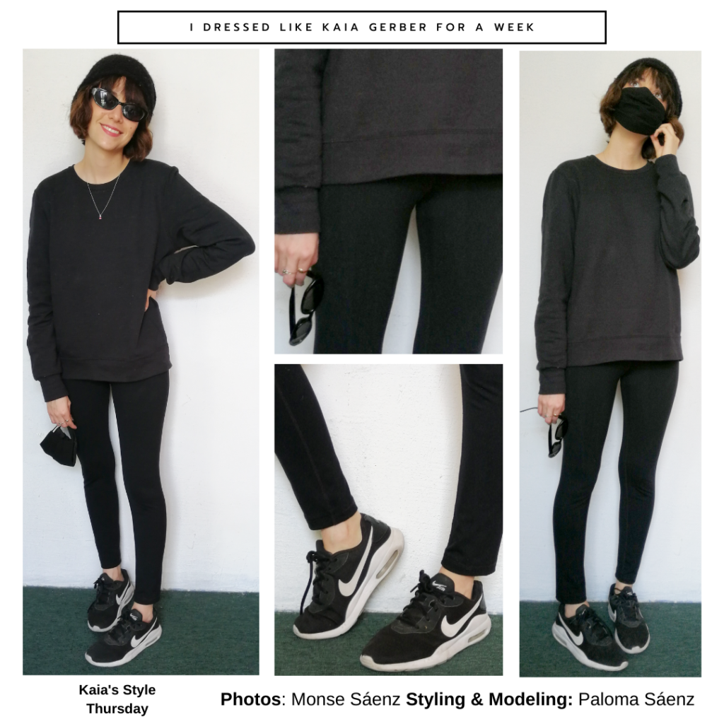 Outfit inspired by kaia Gerber's style: Black oversized sweatshirt, black leggings, black sneakers