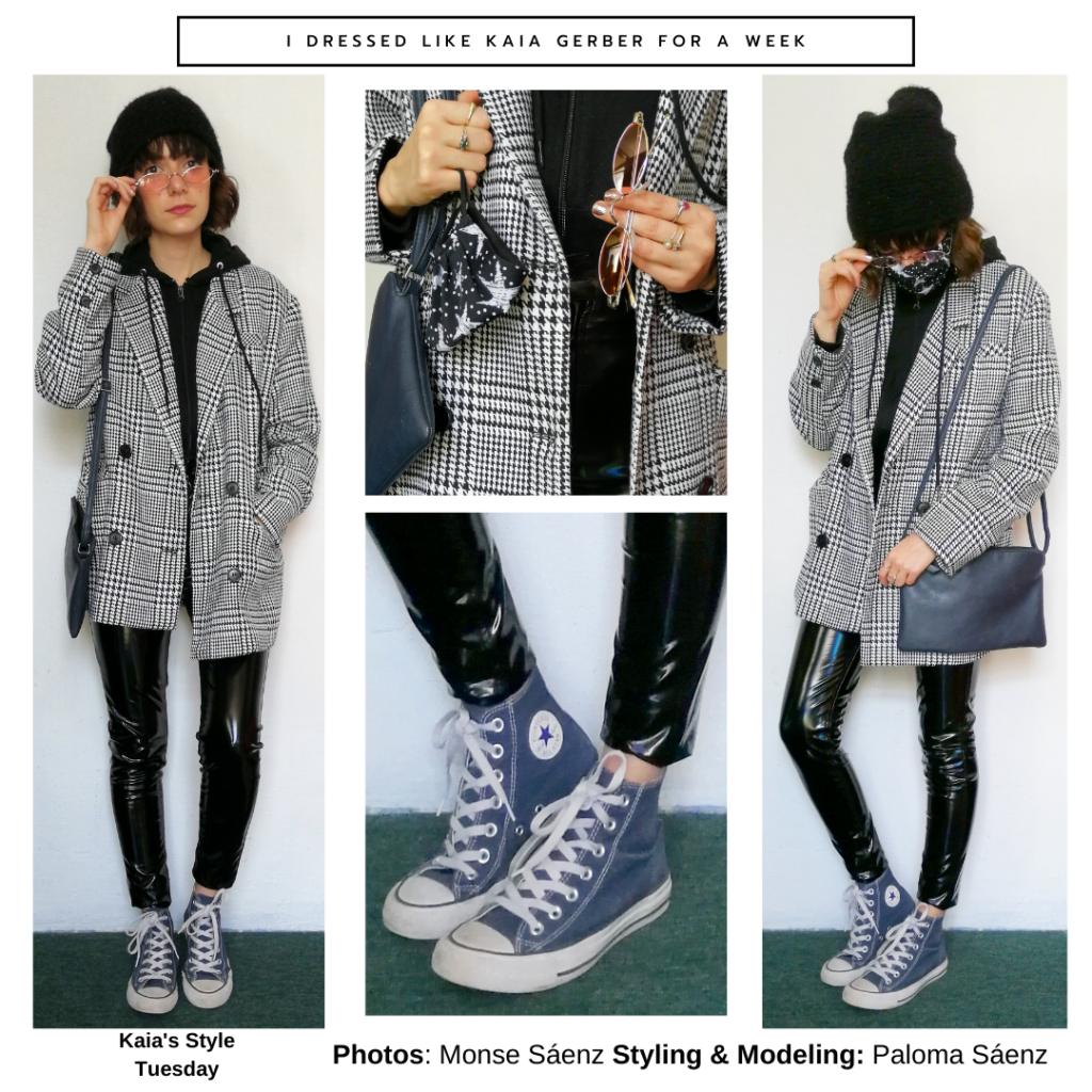 Outfit inspired by Kaia Gerber's style with black vinyl leggings, oversized blazer, high top converse, beanie hat, hoodie