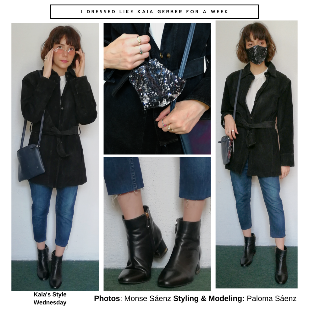 Outfit inspired by Kaia Gerber with black blazer, blue cropped jeans, ankle boots, blue crossbody bag