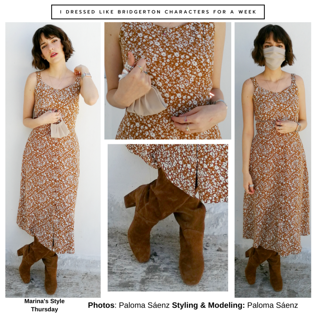 Bridgerton outfits guide: Marina Thompson outfit with floral maxi dress, suede boots, mini purse