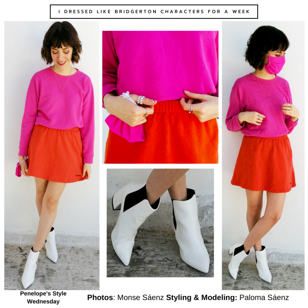 Bridgerton outfit inspired by Penelope Featherington - hot pink top, red mini skirt, white ankle boots, rings