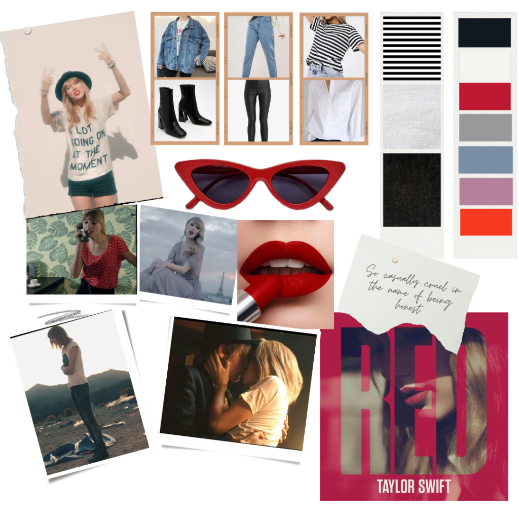 Fashion mood board inspired by Taylor Swift's red era