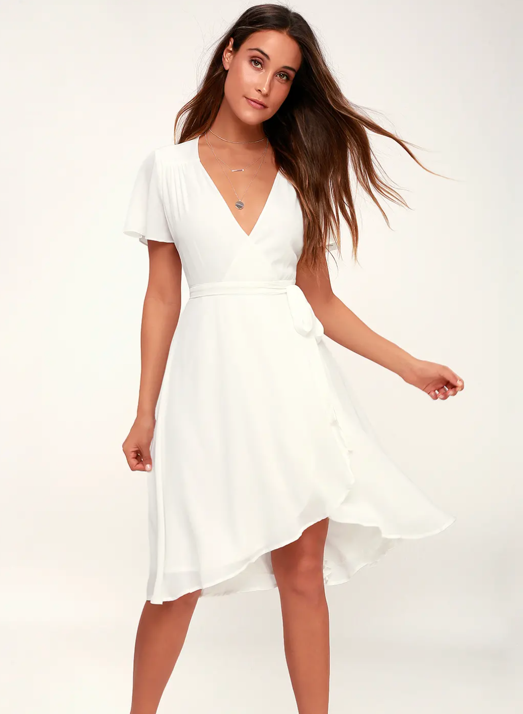 White wrap dress from Lulu's