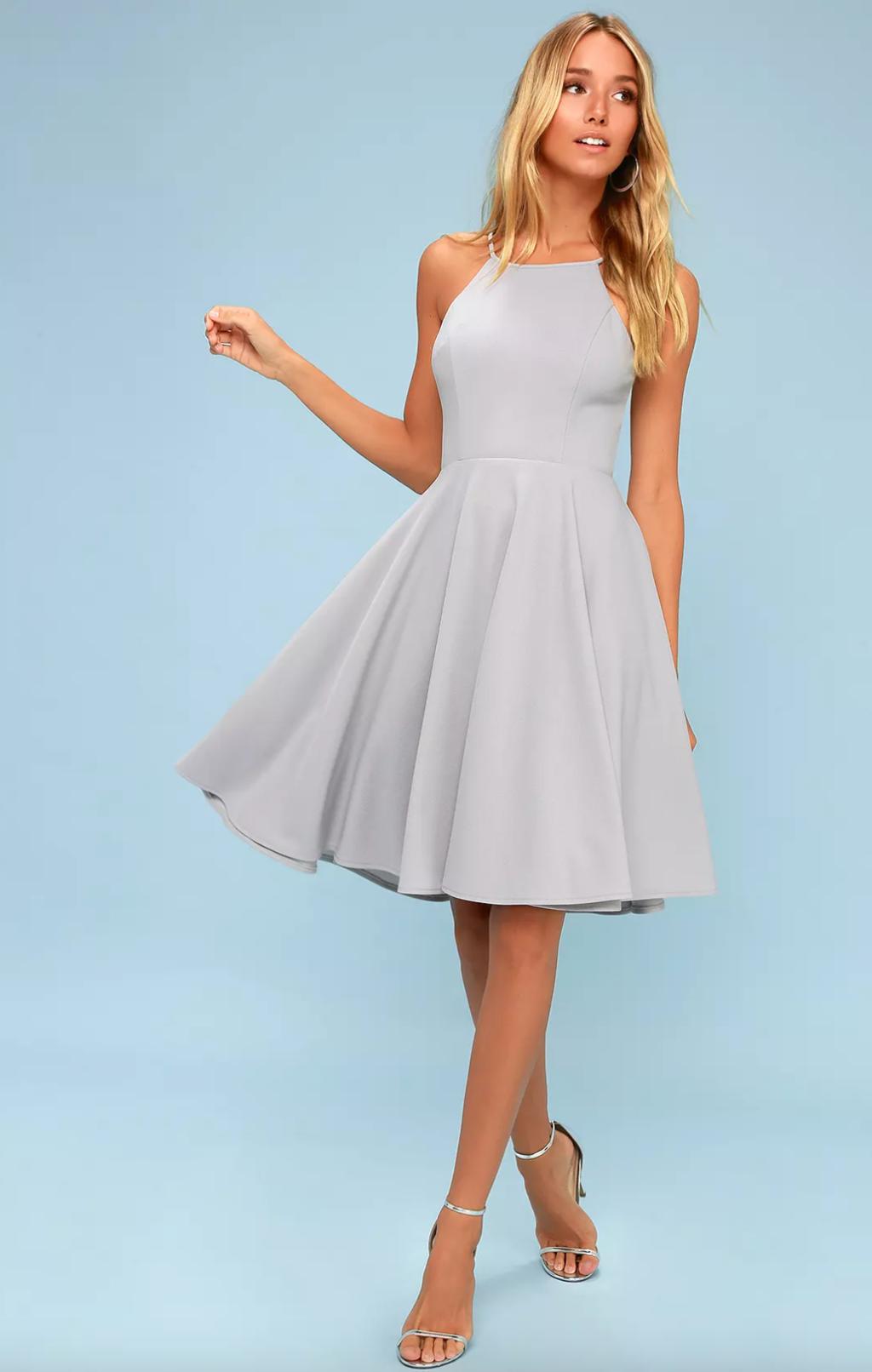 Grey midi dress from Lulu's