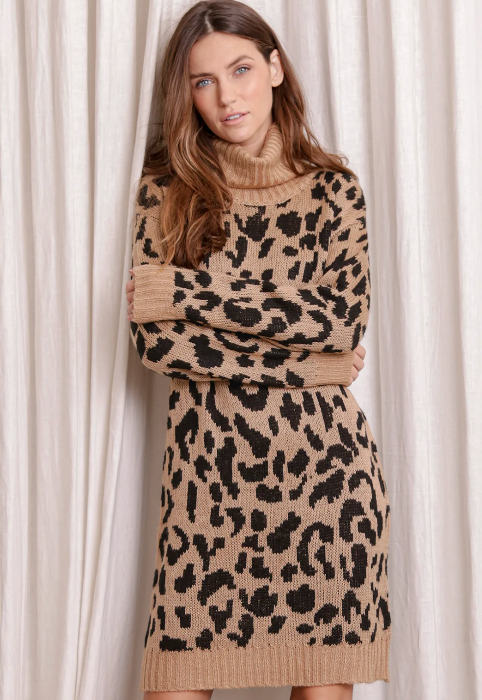 Leopard print sweater dress from Lulus