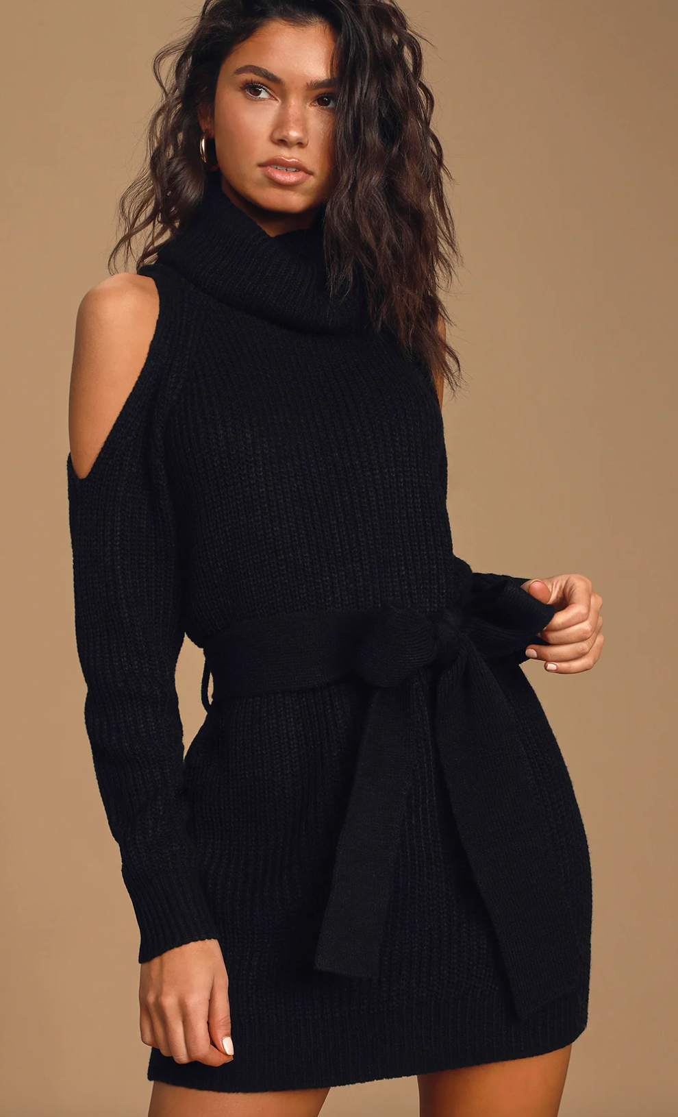 Black sweater dress from Lulus