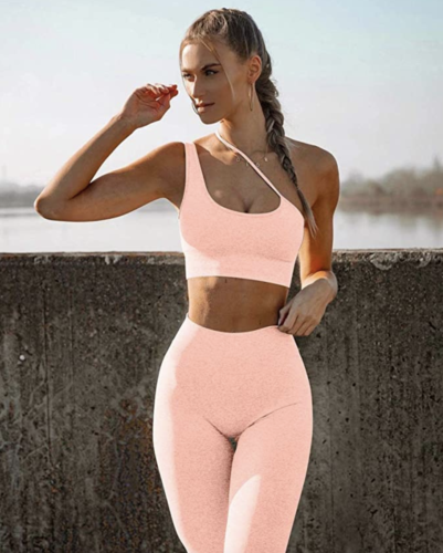 HYZ two-piece workout set in peach with asymmetrical sports bra from Amazon