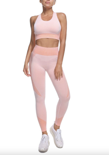 Baby pink and coral workout set with leggings and matching sports bra