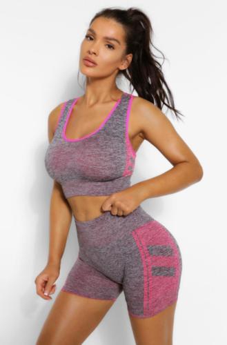 Boohoo pink and heather grey biker shorts and sports bra set