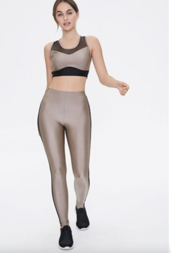 Metallic gold and black sports bra and legging set from Forever 21