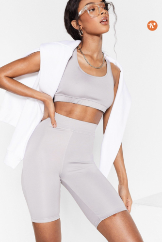 Nasty Gal grey cute workout set with biker shorts and matching bra