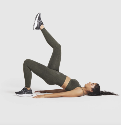 Hunter heather green workout set with spaghetti strap sports bra and high-waisted leggings