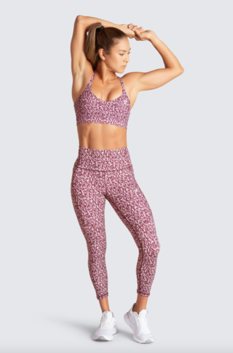 Raspberry pink workout set with sports bra and matching leggings