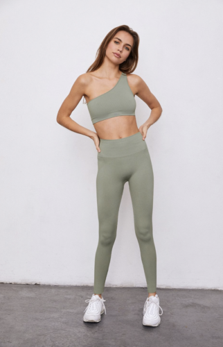 Set Active workout set with muted green asymmetrical sports bra