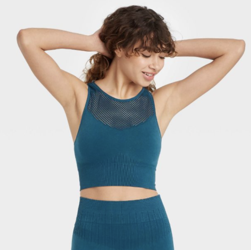 JoyLab high-neck sports bra with perforated neckline and leggings