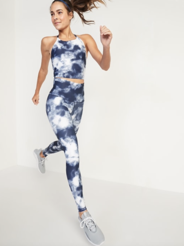 Blue and white tie dye workout set with high-neck top