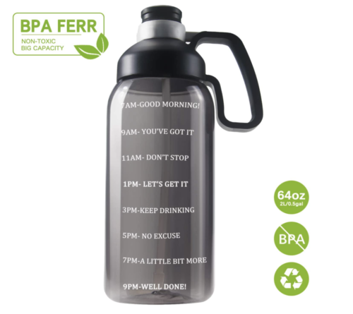 64 oz water bottle with motivational marks