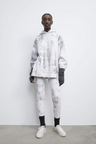 Zara oversized matching white and grey tie dye college loungewear set