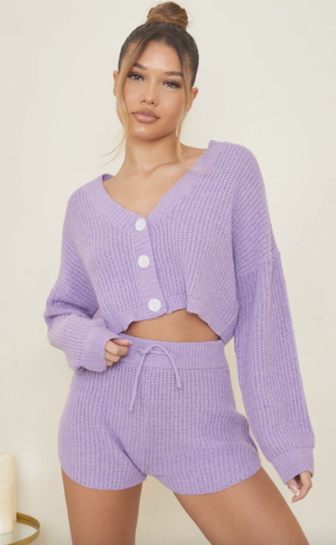 Electric Lilac college loungewear set with shorts from Pretty Little Thing