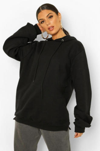 Oversized black hoodie from Boohoo