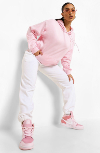 Pink pullover hoodie from Boohoo
