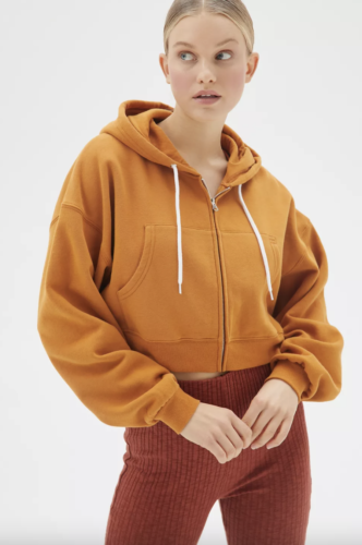 Mustard, cropped zip up hoodie form Urban Outfitters