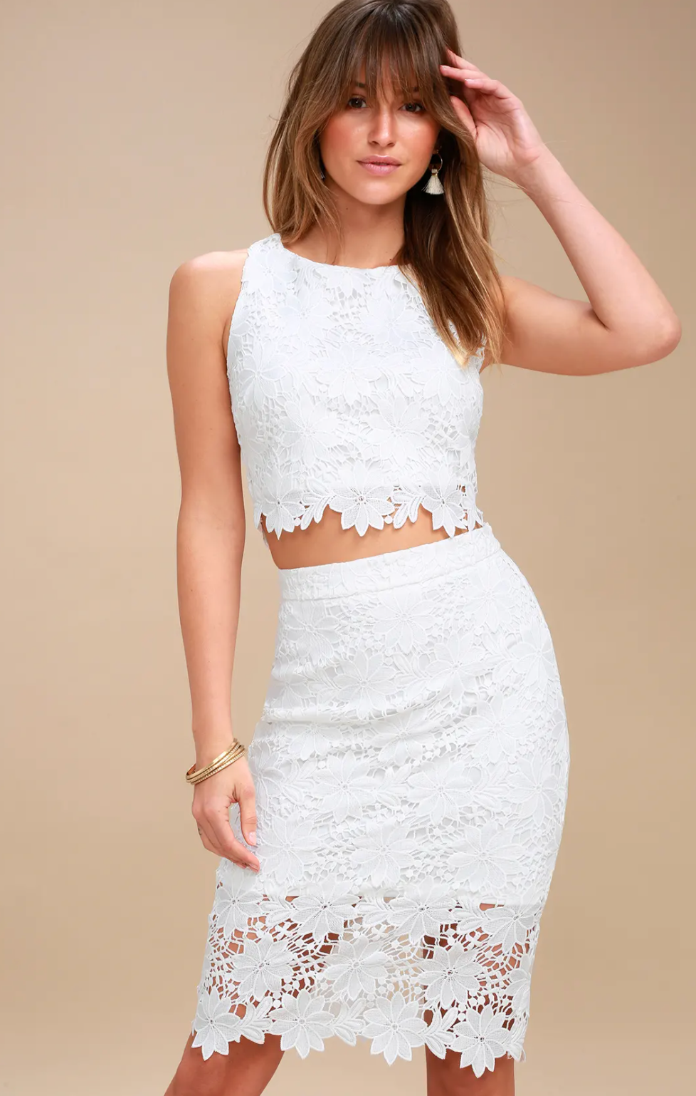 White lace two-piece dress from Lulu's