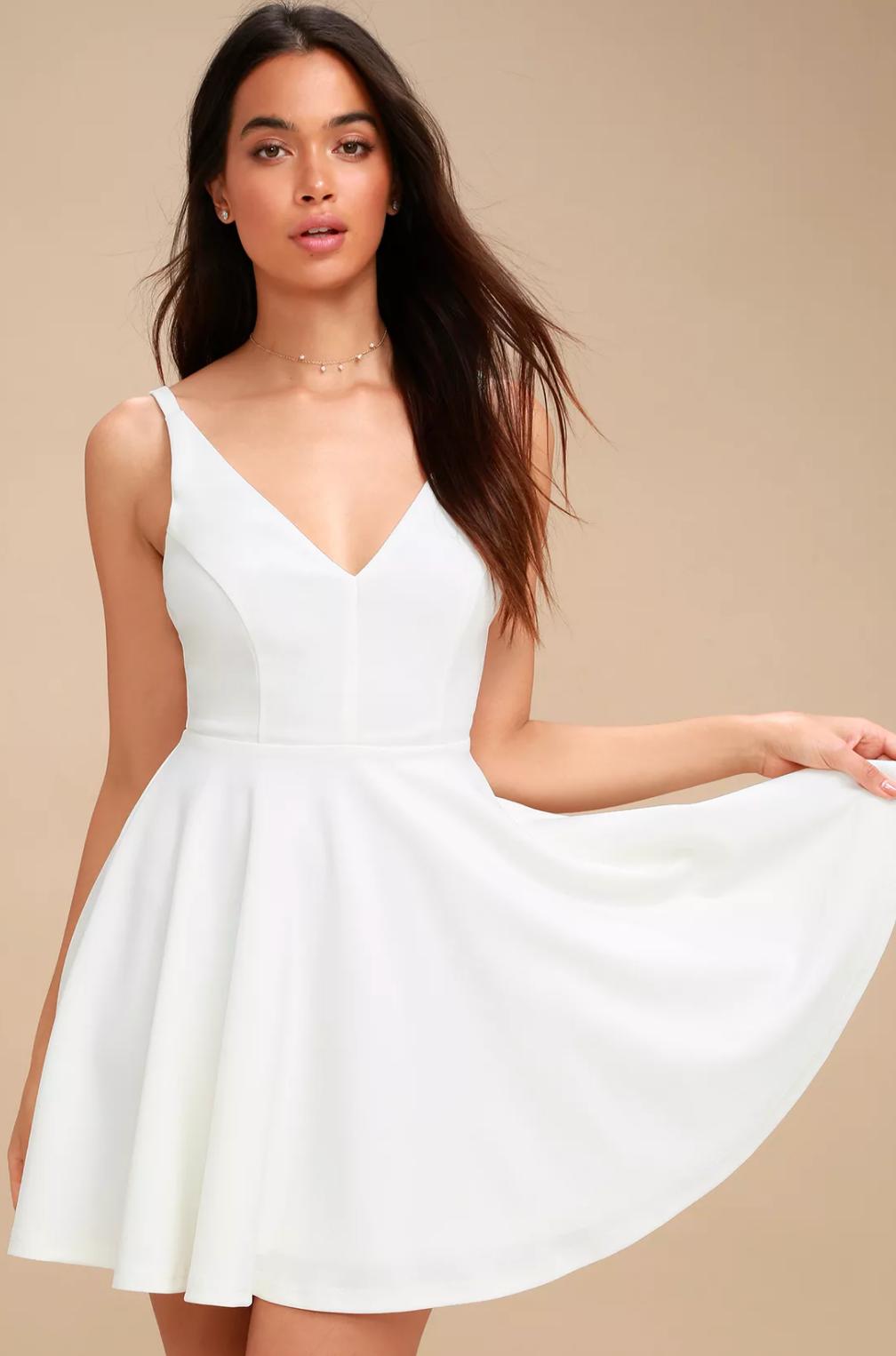 White skater dress from Lulu's