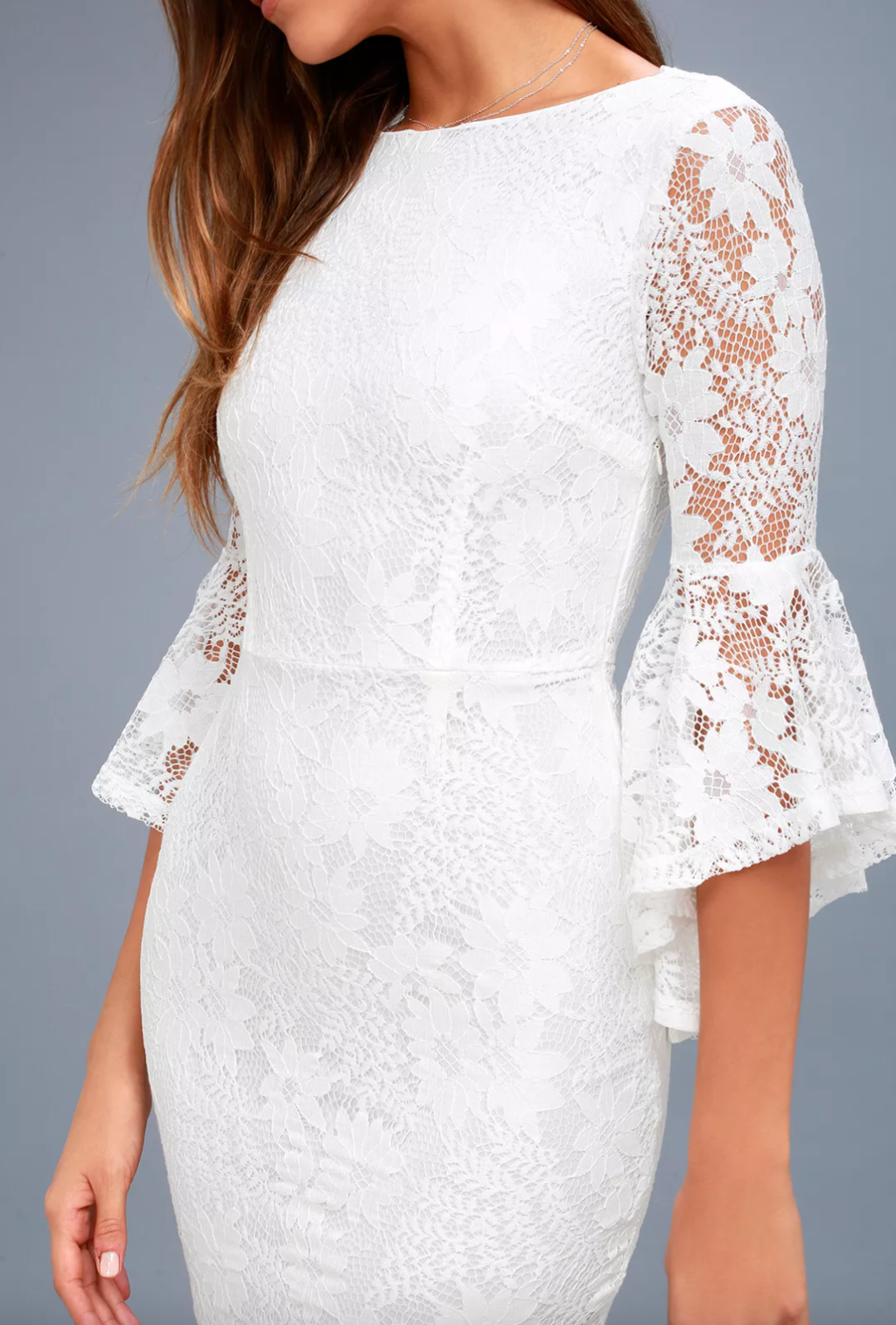 White lace bell sleeve bodycon dress from Lulu's