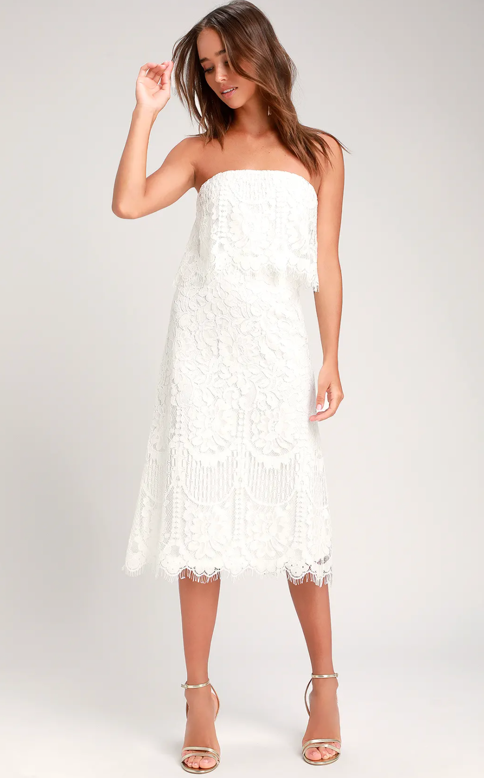 White lace strapless midi dress from Lulu's