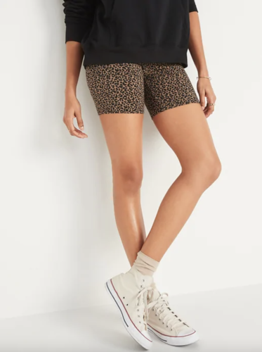 Leopard print biker shorts from Old Navy.
