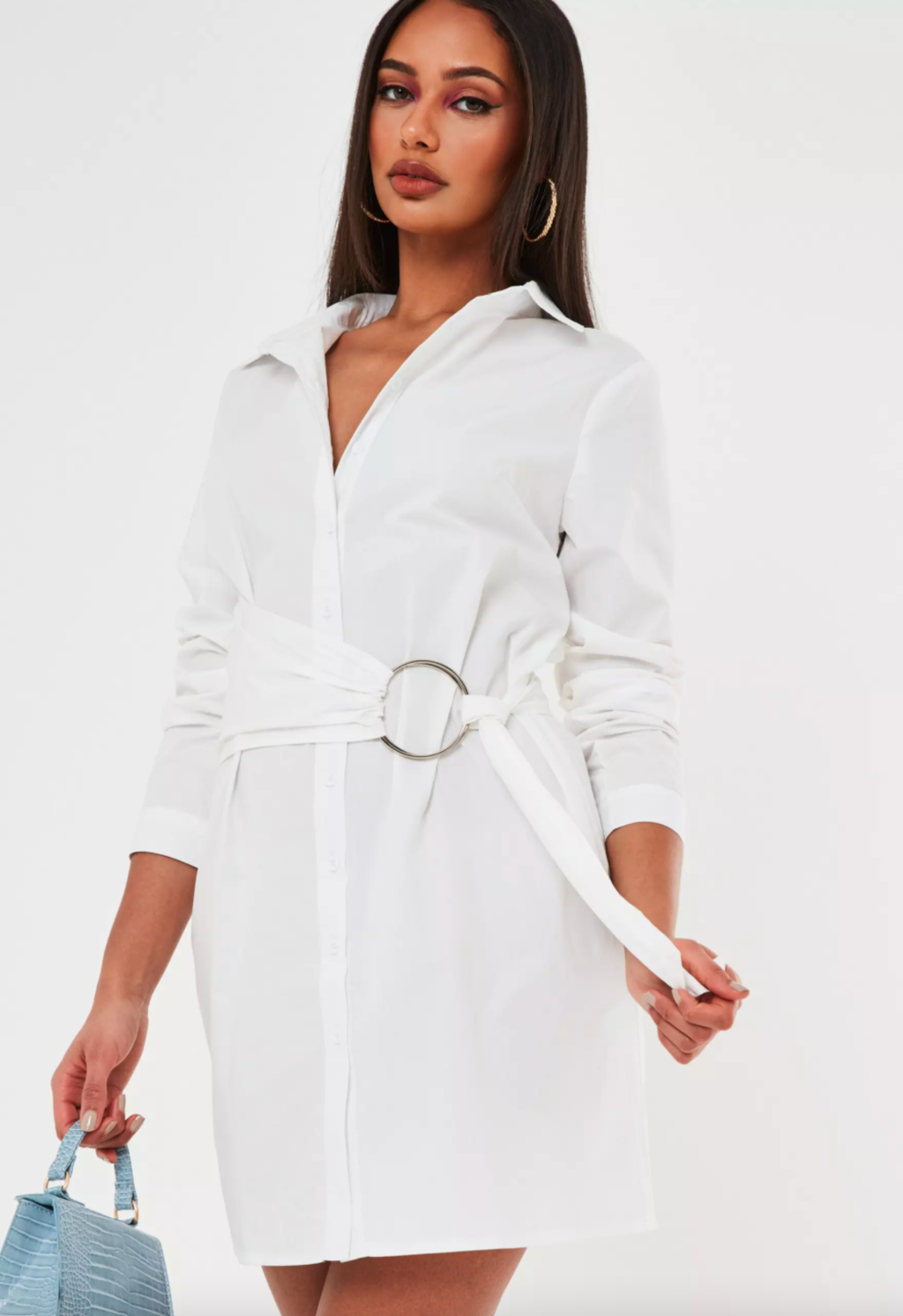 White poplin belted shirt dress from Missguided