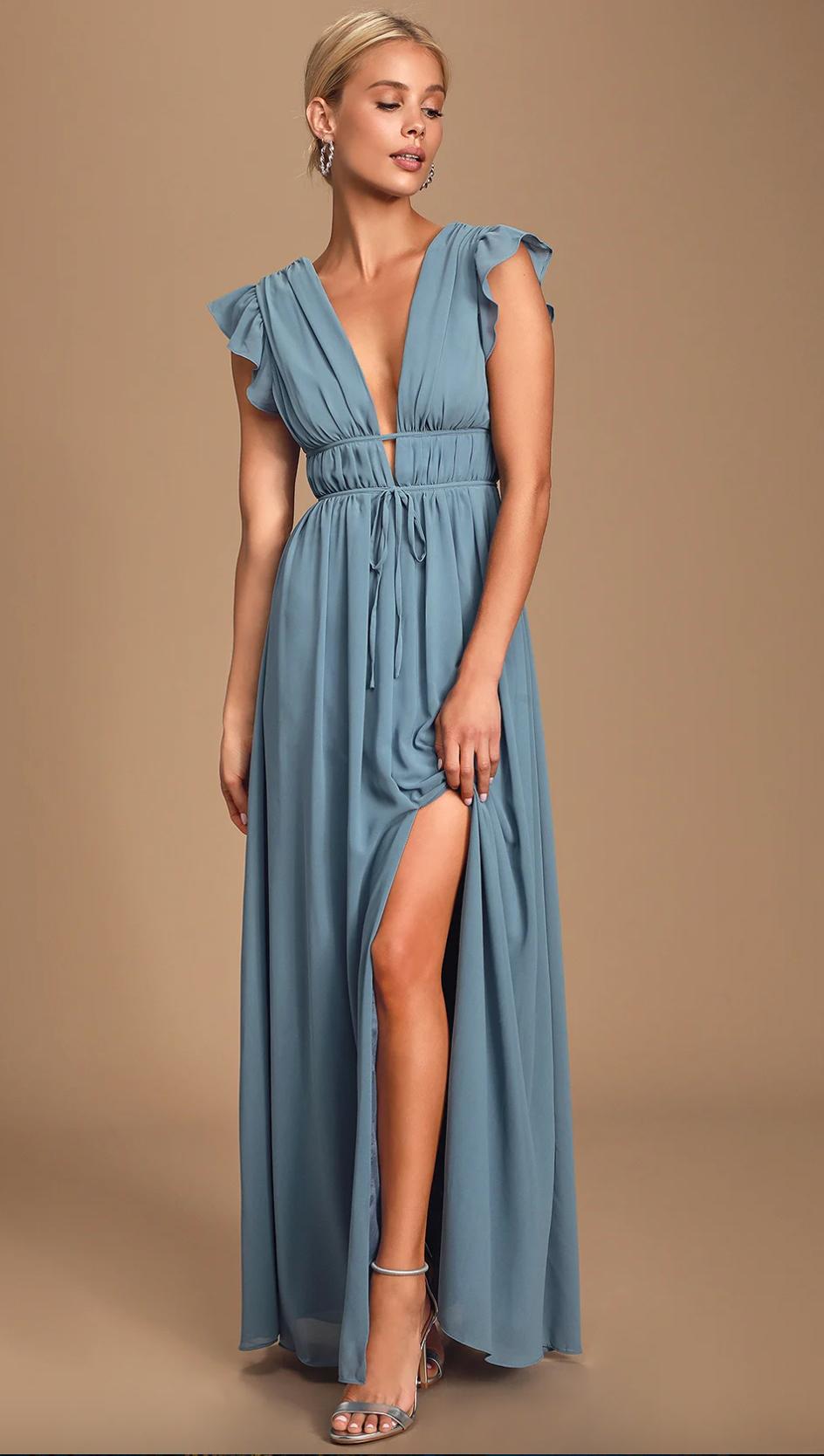 Boho slate blue maxi dress from Lulu's