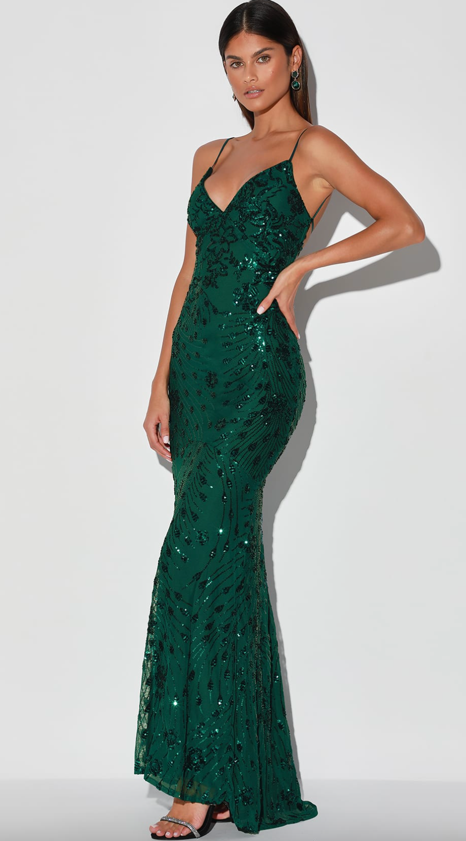 Glam forest green dress from Lulu's