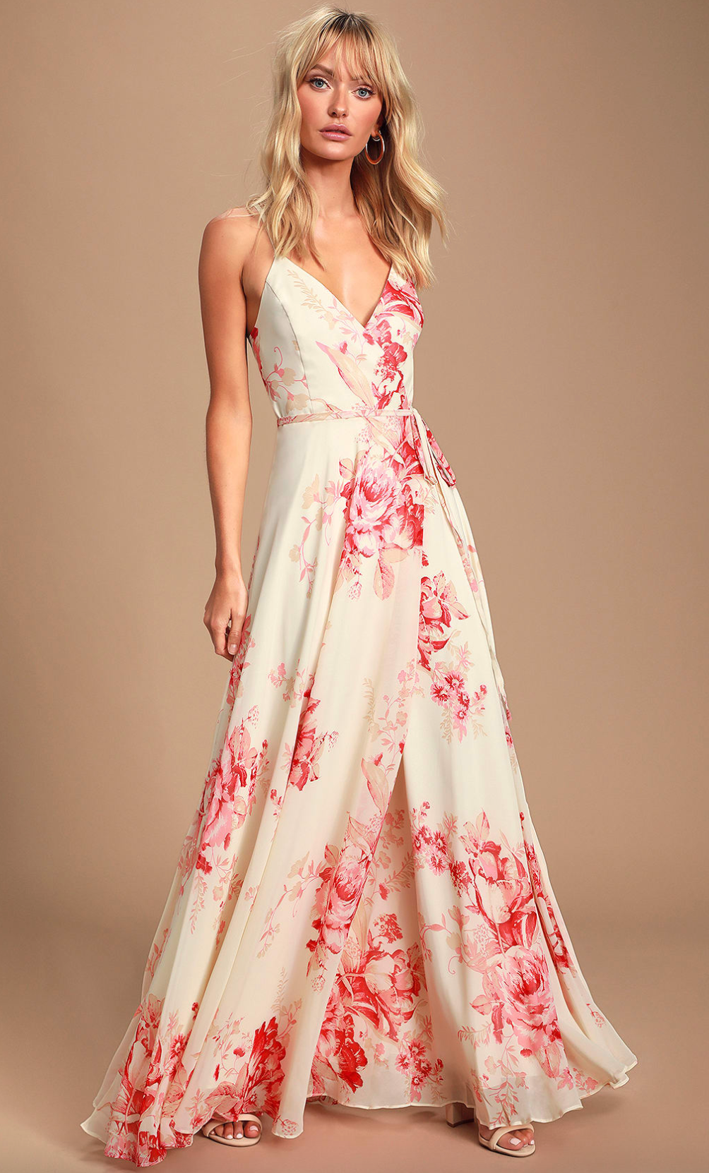 Cream and coral floral print dress from Lulu's