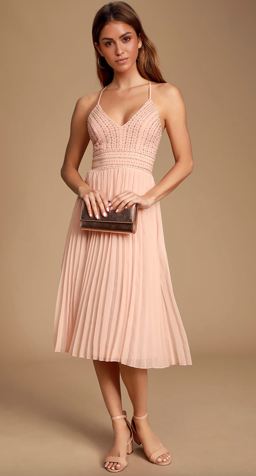 Pretty pink embroidered dress from Lulu's