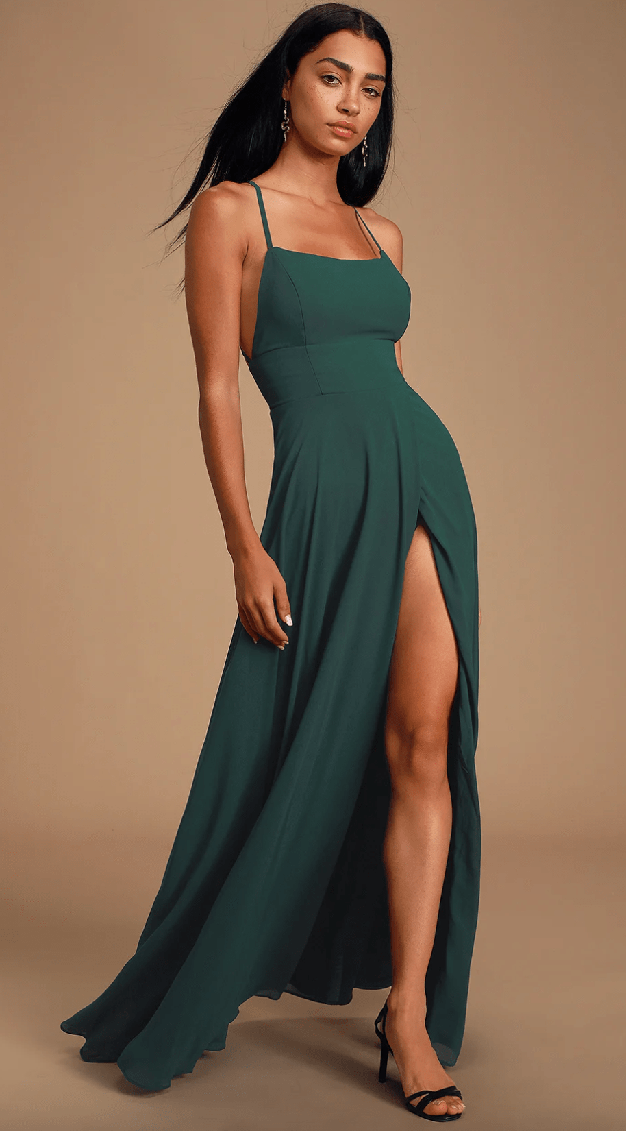 Forest green maxi dress from Lulu's