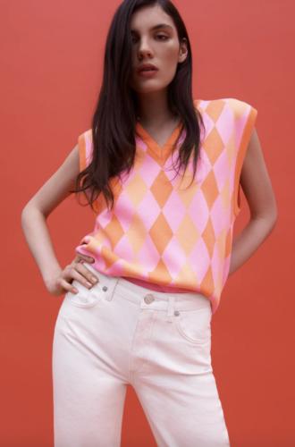 Orange and pink diamond-print knit top from Zara