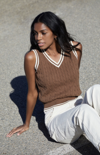 Varsity stripe brown sweater vest from PacSun