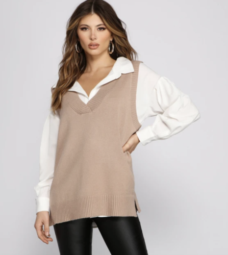 Oversized taupe knit top from Windsor